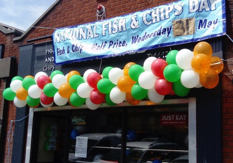 Corporate Balloon Banner for National Fish & Chip Day Ireland